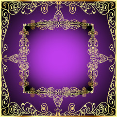 purple background with gold ornament and precious stones