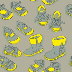 vector illustration with seamless shoes