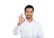 Business man, student, employee customer giving ok sign