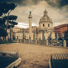 Vintage view - Traian column and Santa Maria di Loreto in Rome,