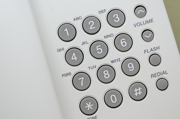 Close up view of  keypad of a dial up telephone