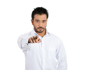Confident, young man, student pointing at you with hand