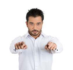 Confident, young man pointing at you with two hands