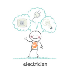 electrician thinking about sockets, plugs and lamp