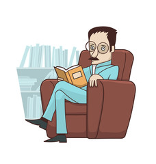 Reading book in armchair