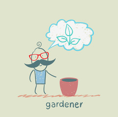 gardener thinks of a beautiful plant