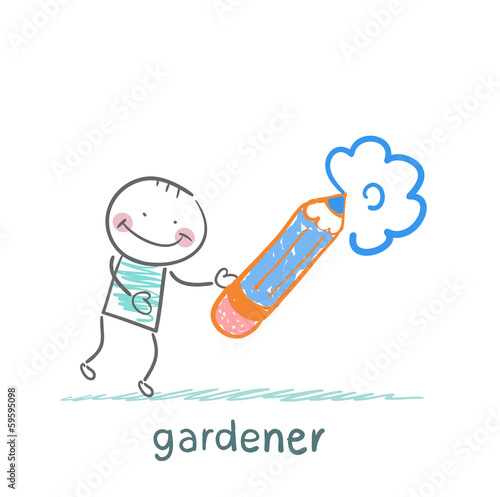 draws a flower gardener