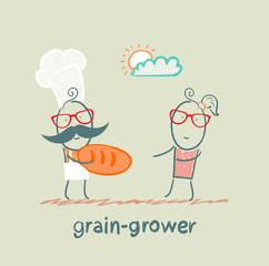 grain grower gives bread a girl