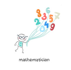 mathematician is flying on figures