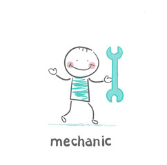 mechanic holding a green key