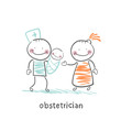 obstetrician with the patient and the child