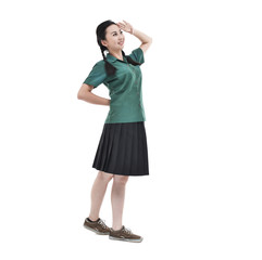 teenage girl wearing school uniform standing
