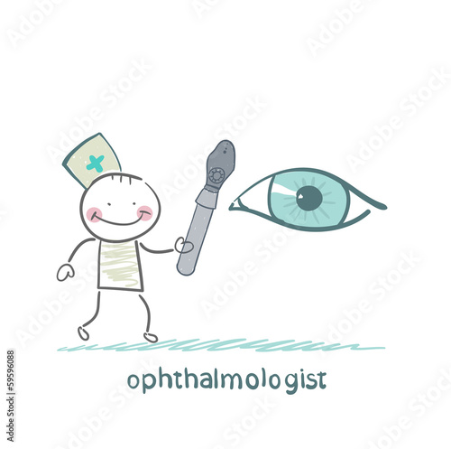 ophthalmologist with a tool to test the eye