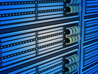 Close-up of Modern Computer Servers in Data Center