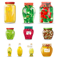 Set of glass jars with preserved vegetables, mushrooms, fruit an