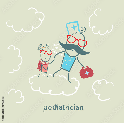 pediatrician with baby runs on clouds