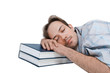 Student tired and sleeps on textbooks