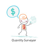 Quantity Surveyor holds a house and thinking about money