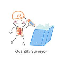 Quantity Surveyor wrote in pencil in a book