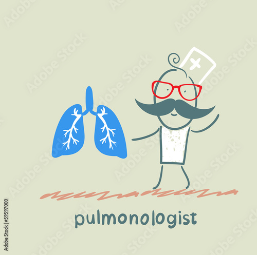 pulmonologist is standing next to a person's lungs