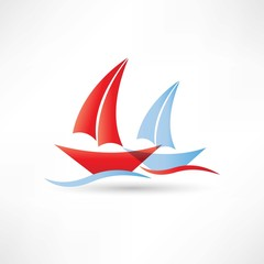 sailboats in the sea icon