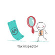 tax inspector with magnifying glass looking for money