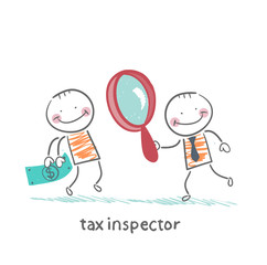 tax inspector with magnifying glass looking at the person money