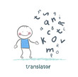 translator is thinking about letters