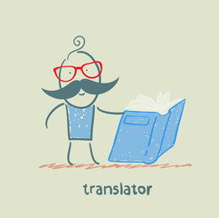 translator reads a book