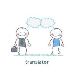 translator speaks with a businessman