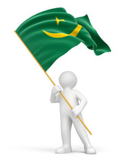 Man and Mauritania flag (clipping path included)