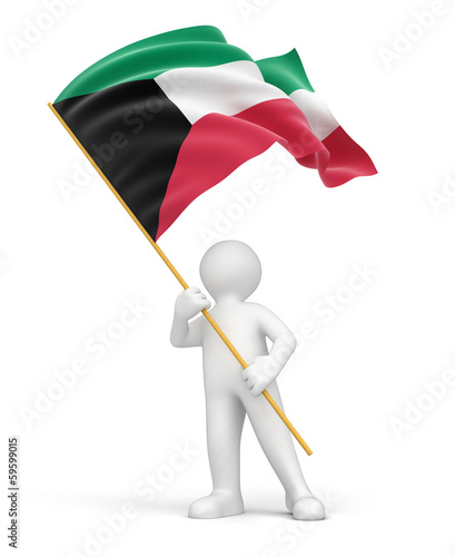 Man and Kuwait flag (clipping path included)