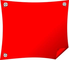 Красное полотно с вбитыми гвоздями