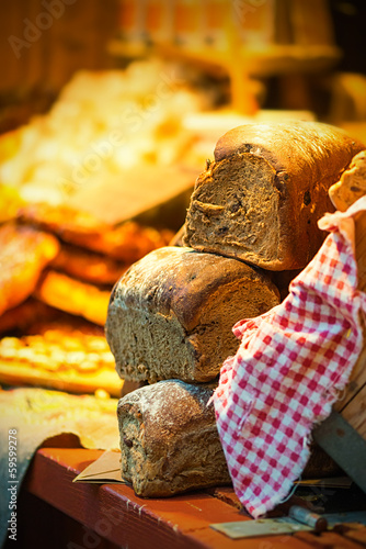 Bread on display at a outdoor market