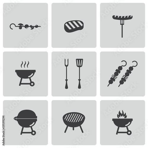 Vector black barbecue icons set - 59599294