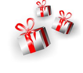 Коробки с подарками перевязанные красной лентой
