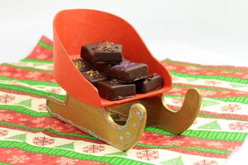traîneau de confiseries  aux chocolats