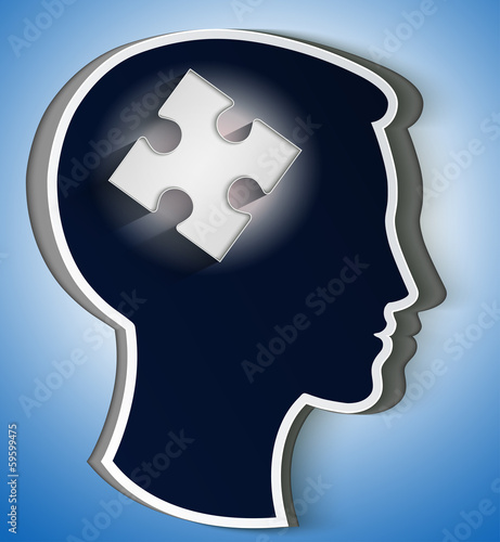 Human head. concept of a new idea, piece of the puzzle