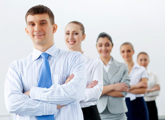 Group of business people standing in row