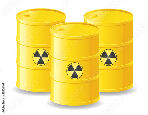 yellow barrels of radioactive waste vector illustration