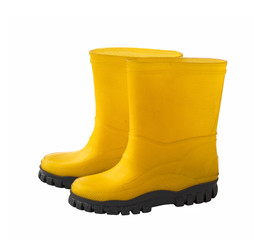 A pair of yellow gumboots
