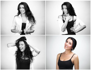 Set of portraits of woman with different emotions, one in color