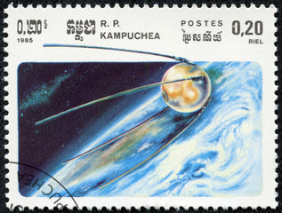 stamp printed in Cambodia shows Soviet spacecraft