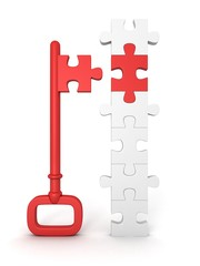 red success key with jigsaw puzzle