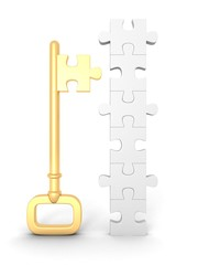 golden success key with jigsaw puzzle puzzle business concept
