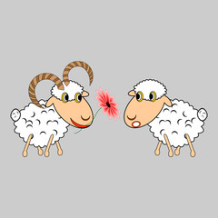 A ram presenting a sheep a flower. Funny cartoon illustration