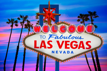 Welcome Fabulous Las Vegas sign sunset palm trees Nevada