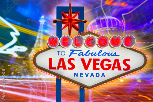 Fototapeta Welcome to Fabulous Las Vegas sign sunset with Strip