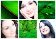collage of beautiful portrait of women in natural smile