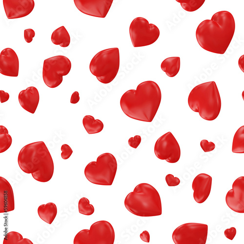 Red Hearts Seamless Pattern Background
